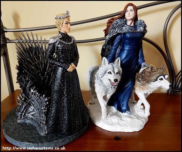 A Lady And Her Dire Wolf: Custom Statue Game Of Thrones Sansa Stark Sophie Turner
